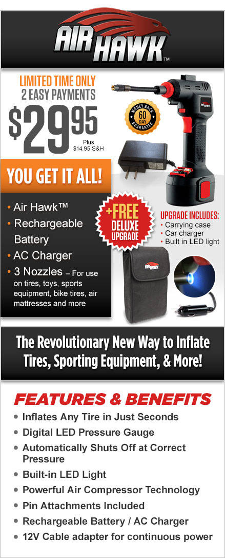 Air Hawk Automatic Cordless Tire Inflator Automatically Inflate