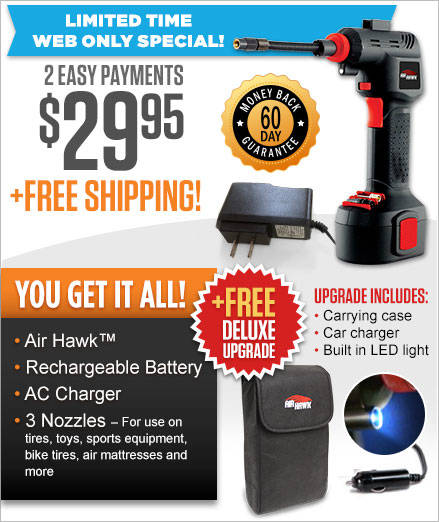 Order Air Hawk™ Automatic Cordless Tire Inflator Now!